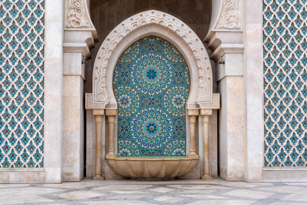 Cleansing fountain, Mosque Hassan II, Casablanca, Morocco stock photo