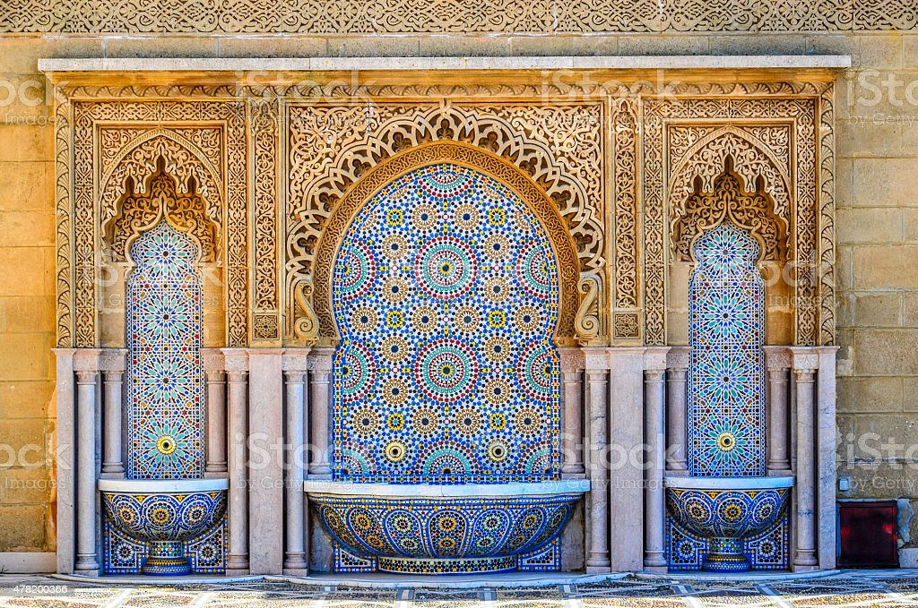 Cleansing fountains on Moroccan mosque stock photo