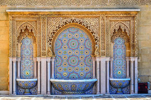 cleansing fountains on moroccan mosque - rabat marocko bildbanksfoton och bilder
