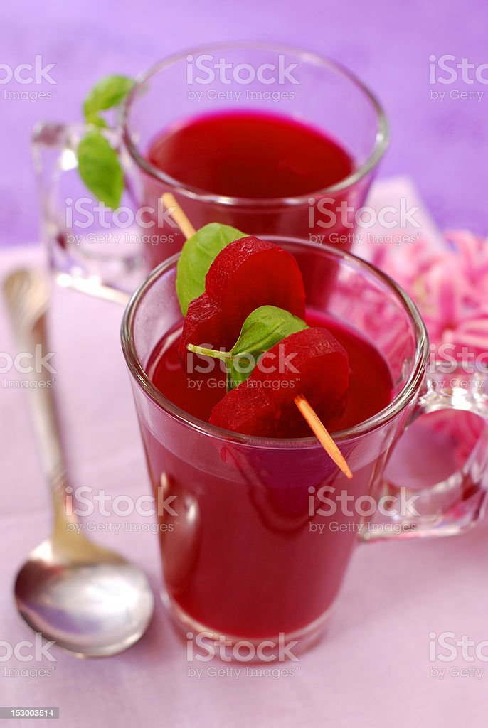 clear beet soup in glass royalty-free stock photo