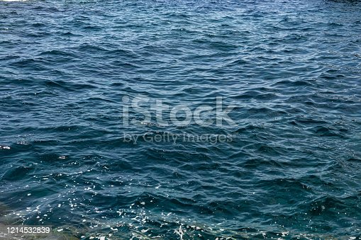 clear Blue sea water background, wallpaper and texture. selective focus.