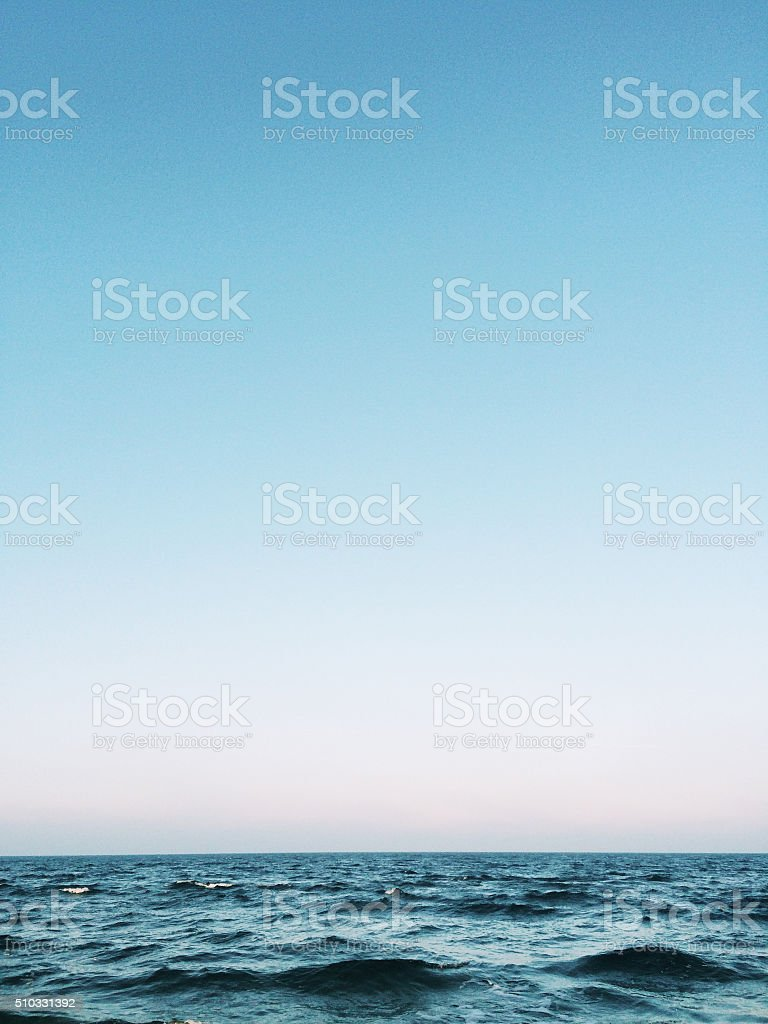Clear blue sky over Baltic sea, Germany stock photo