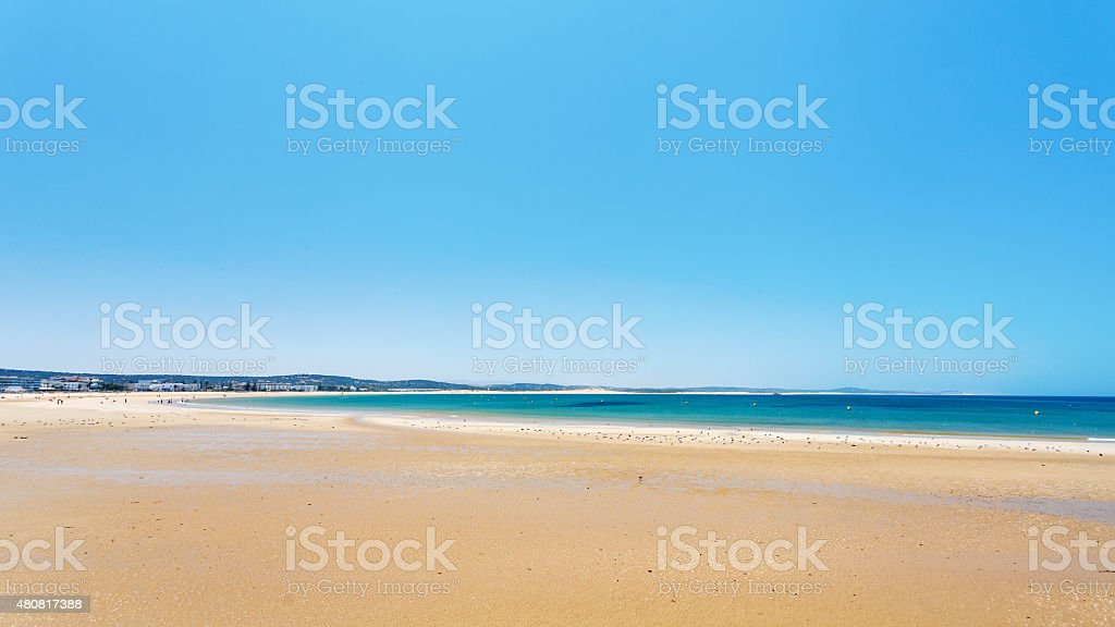 Clear blue sky over emerald sea, Agadir, Morocco foto
