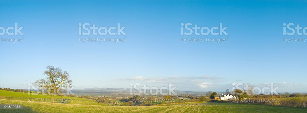 Clear blue sky over green landscape stock photo
