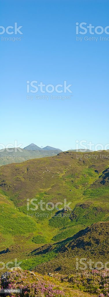 Clear blue sky over mountains royalty-free stock photo