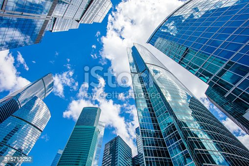 1157587322 istock photo Clear blue sky over skyscrapers 815712252