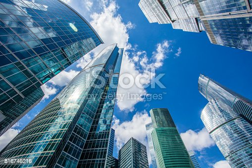 1157587322 istock photo Clear blue sky over skyscrapers 816746216