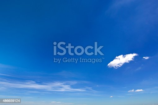 istock Clear blue sky with white cloud 486659124