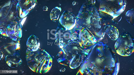 clear blue water balls abstract background