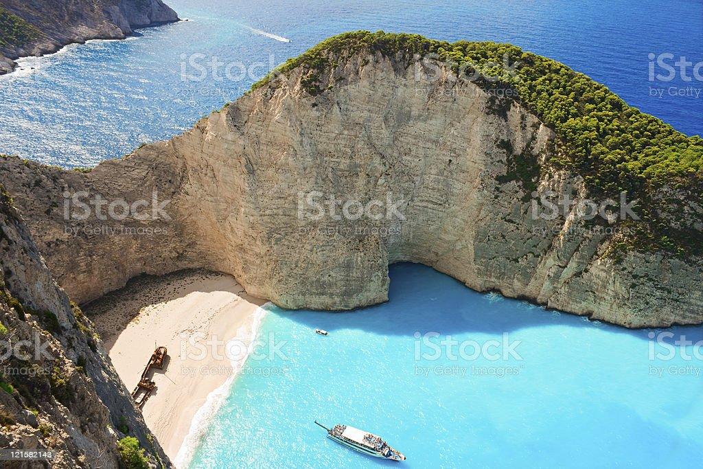 Clear blue waters of Zakynthos shipwreck bay stock photo