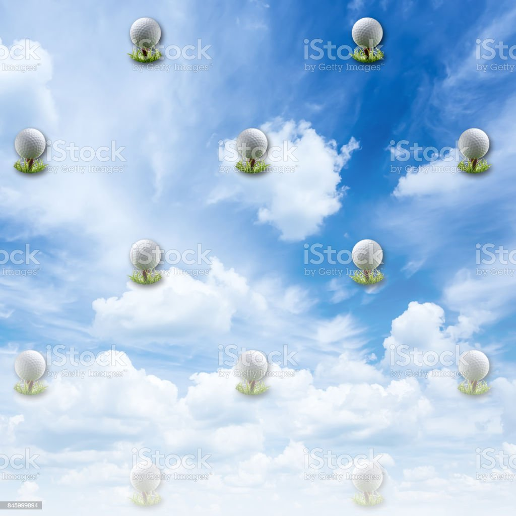 3D, Clear blue, white clouded sky background, with golfball on tees equally spread. stock photo