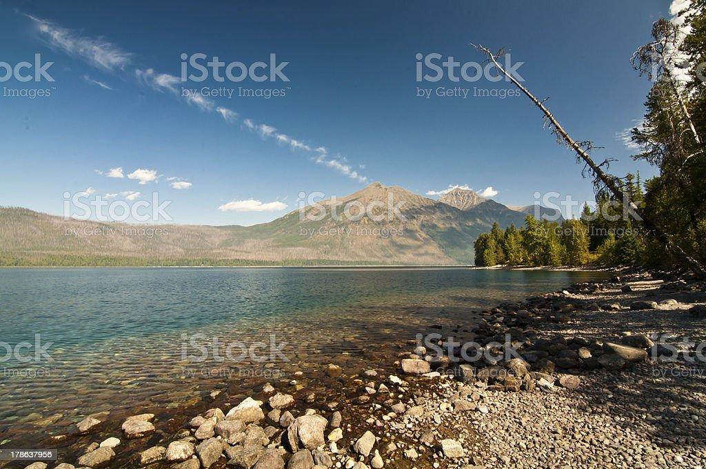 Clear, Bright Blue McDonald Lake, Glacier National Park royalty-free stock photo