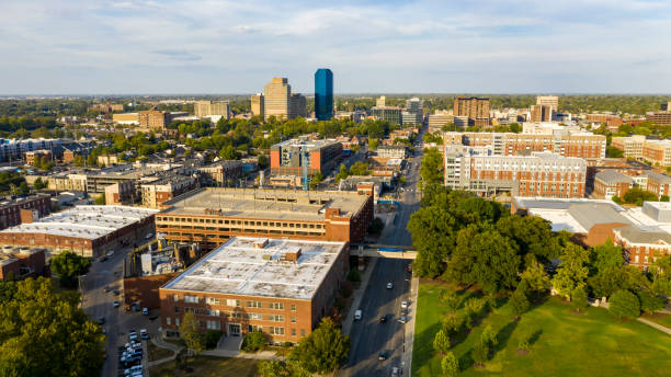 Clear Bright Late Summer Day Aerial View Lexington Kentucky stock photo