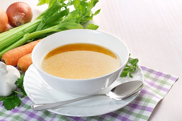 clear broth stock photo