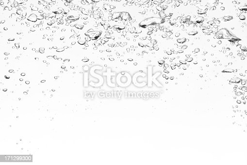 istock Clear bubbles on top of a white background 171299300