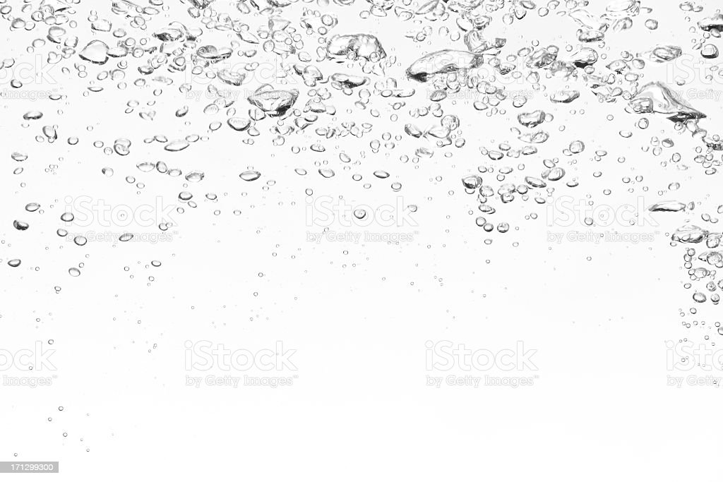 Clear bubbles on top of a white background stock photo