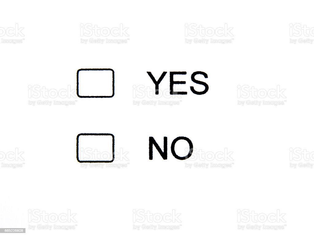 Clear Checkbox Yes No stock photo