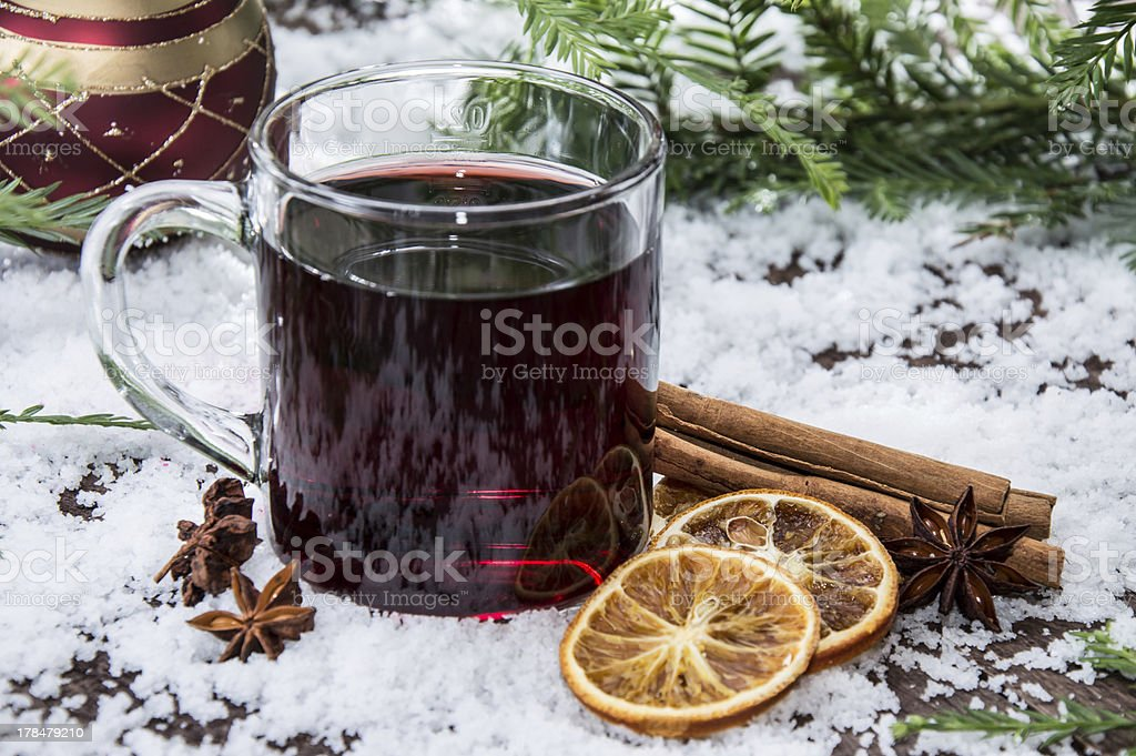 Clear coffee cup filled with mulled wine royalty-free stock photo