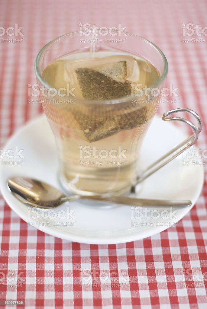 Clear Cup of Tea Bag stock photo
