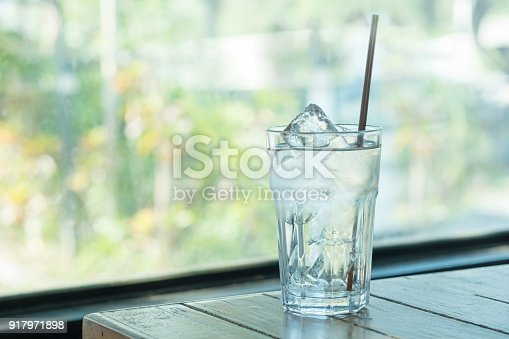 ice and clear water in clear glass, pure drinking water, water for life