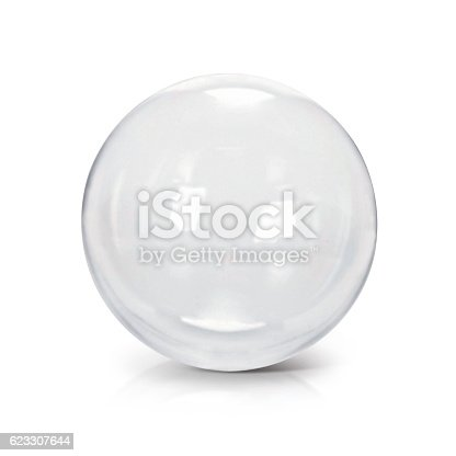 istock Clear glass ball 3D illustration 623307644