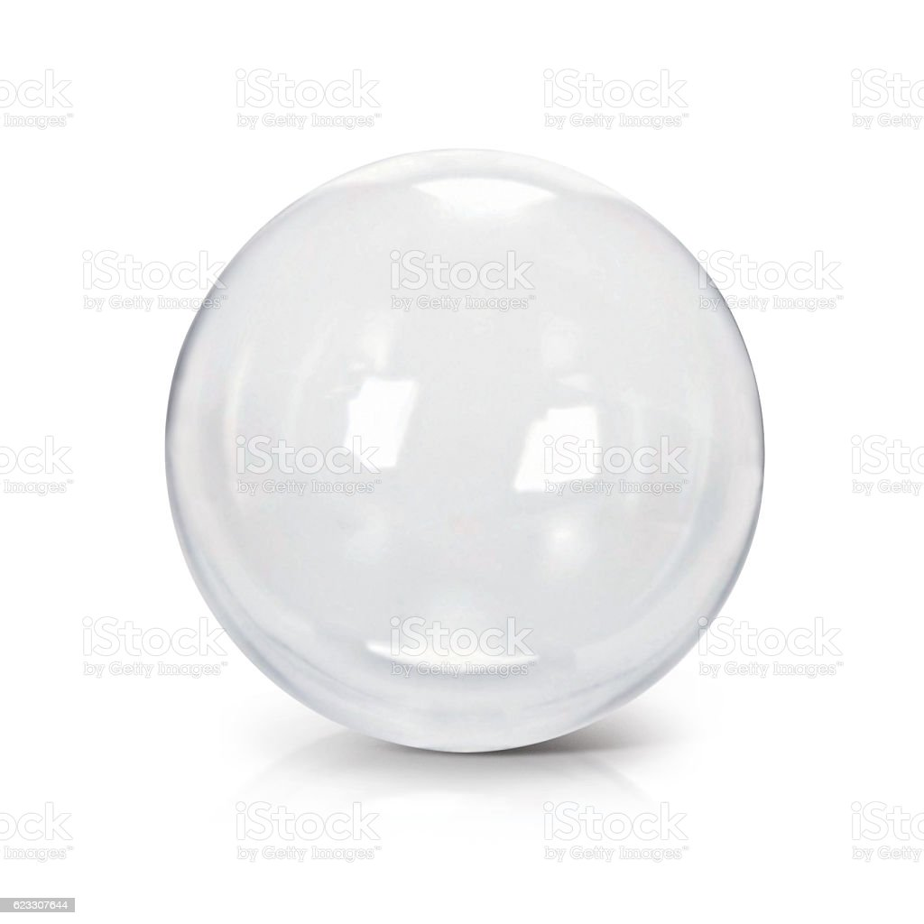Clear glass ball 3D illustration stock photo
