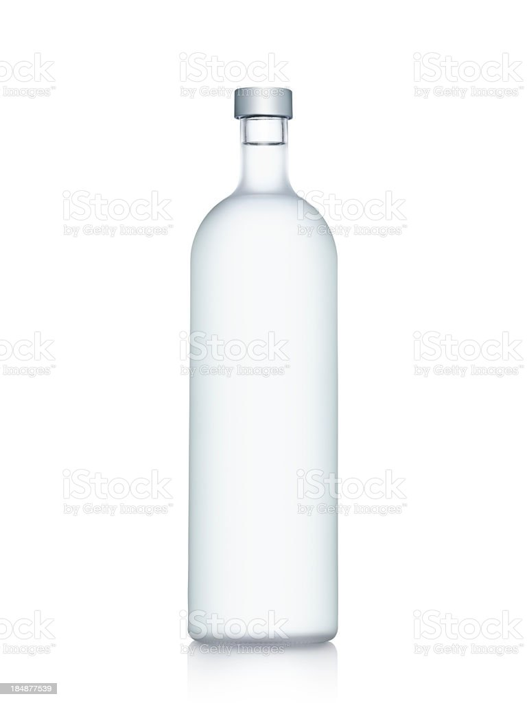 Clear glass bottle of water isolated on white background stock photo