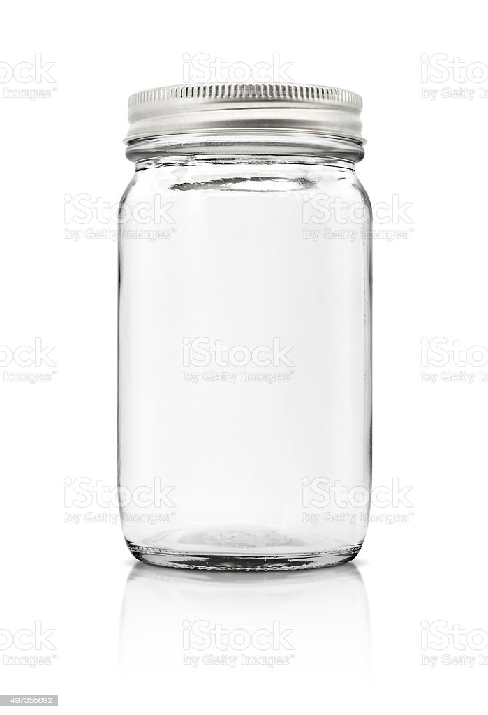 Clear glass bottle with silver cap isolated on white background stock photo