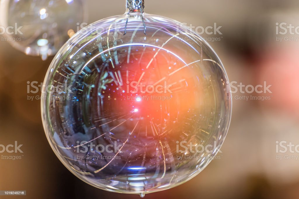 Clear Glass Bright And Shining Christmas Ornaments Stock Photo