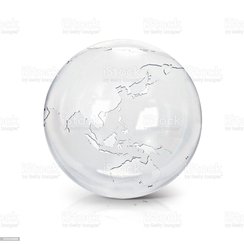 Clear Map Of Australia.Clear Glass Globe 3d Illustration Asia Australia Map Stock Photo