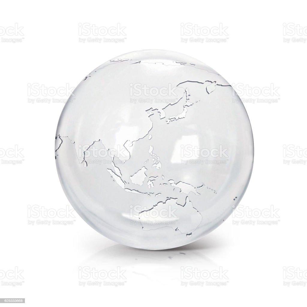Clear glass globe 3D illustration Asia & Australia map stock photo