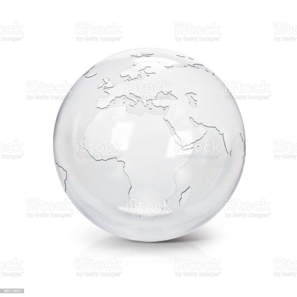 Mapa de Europa y África de globo vidrio claro sobre fondo blanco - foto de stock