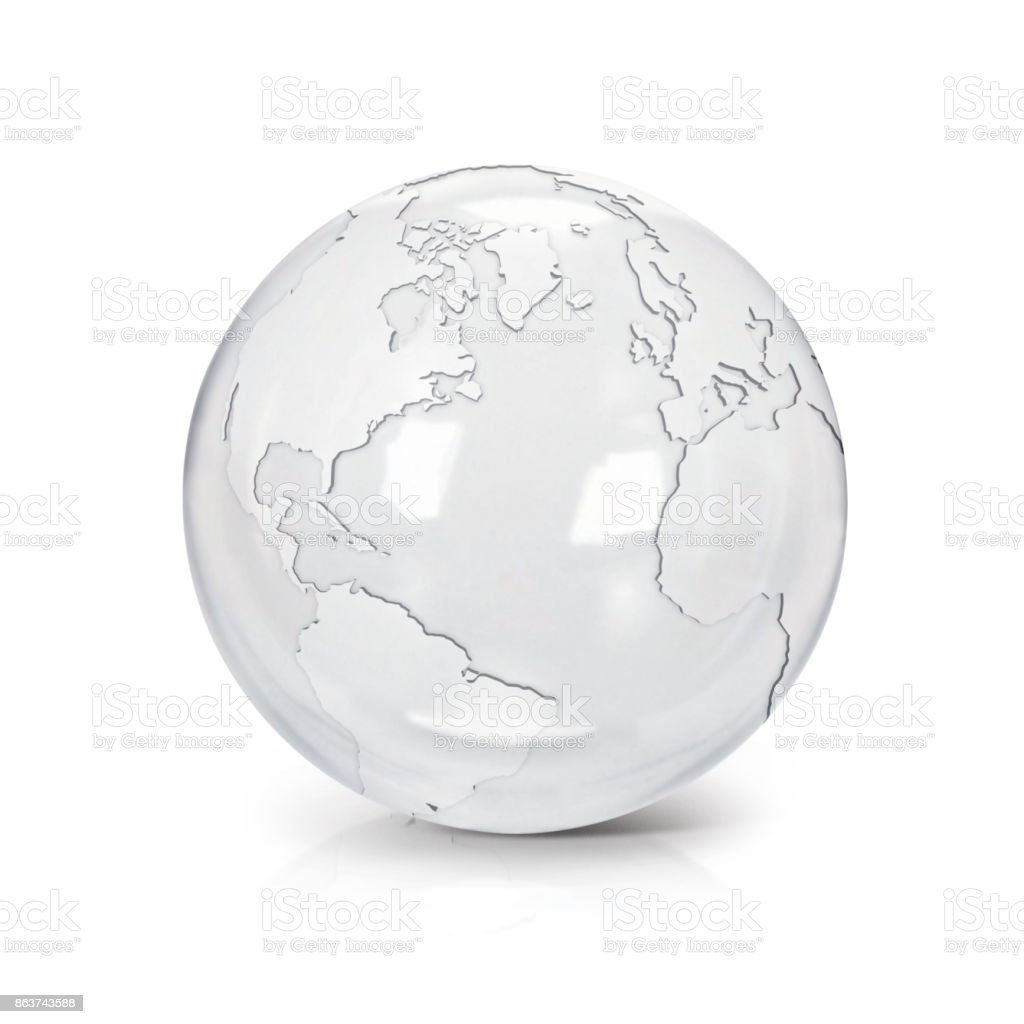 Clear glass globe North and South America map on white background stock photo