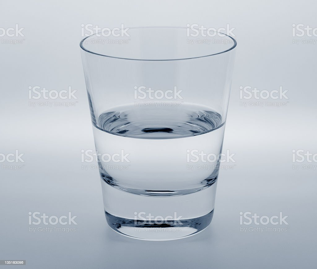 Clear glass half full or empty point of view illustration stock photo