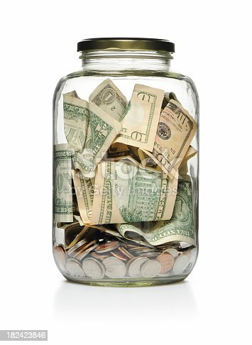 Money in a glass jar, saving concept or donation, isolated on white, More pictures...