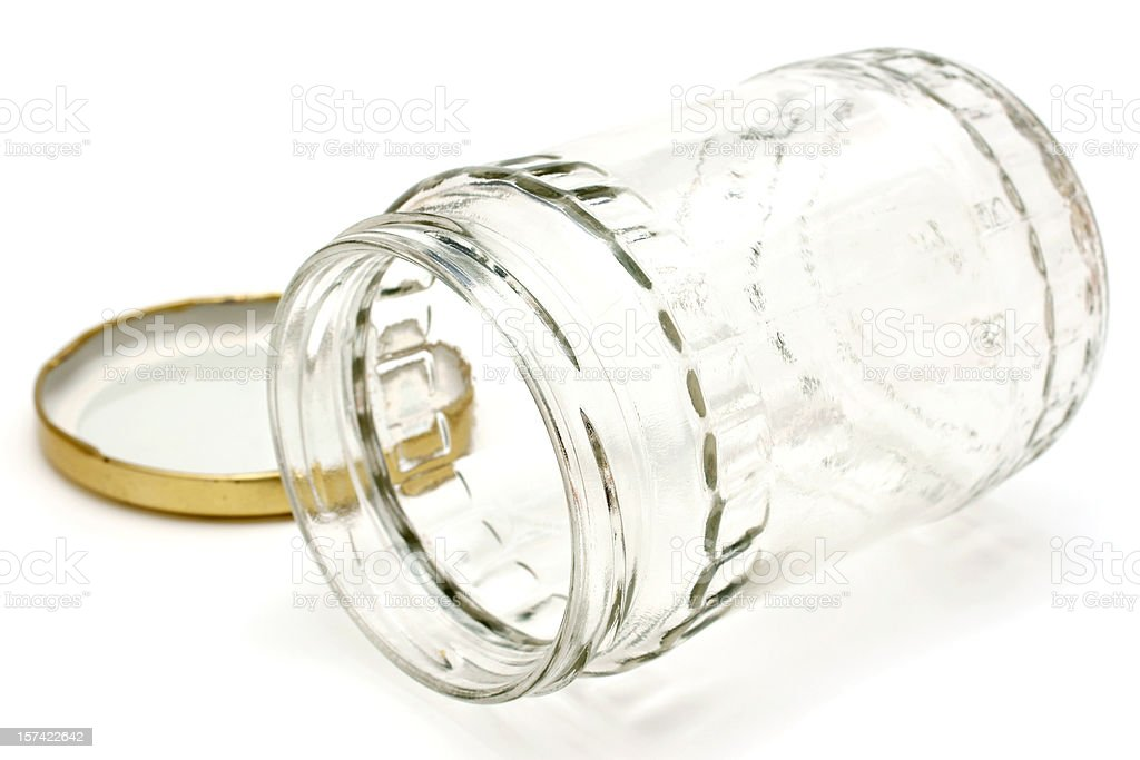 clear glass jar on side royalty-free stock photo