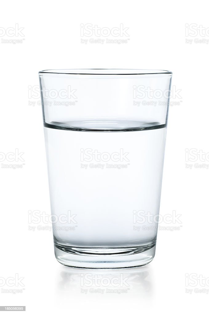 Clear glass of water on a white background stock photo