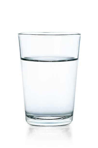 clear glass of water on a white background - glass stock photos and pictures