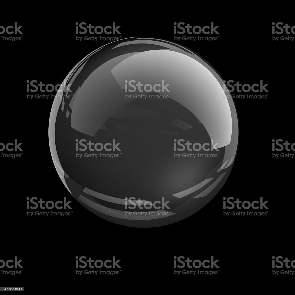 Clear glass sphere on black background stock photo