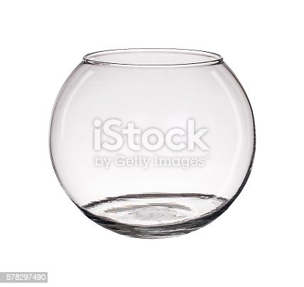 istock Clear glass vase isolated on a white background 578297490