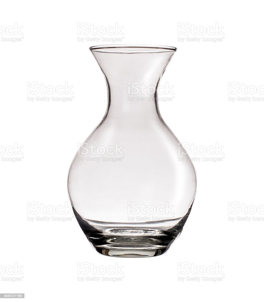 Clear glass vase isolated on a white background stock photo