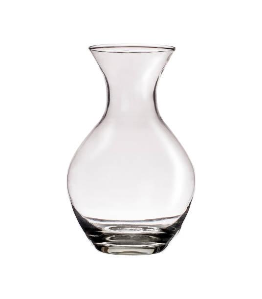 farbloses glasvase isoliert auf weißem hintergrund - vase glas stock-fotos und bilder