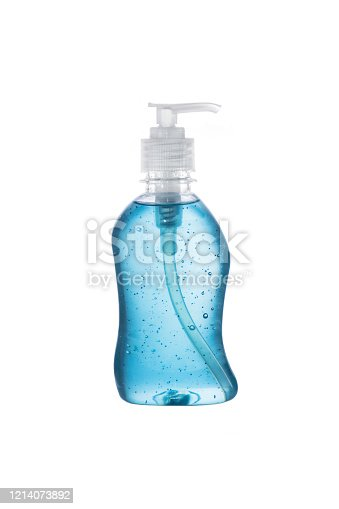 Clear hand sanitizer in a clear pump bottle isolated on a white background. Hand sanitizer is used for killing germs, bacteria and viruses, coronavirus, H1N1 flu or swine flu.