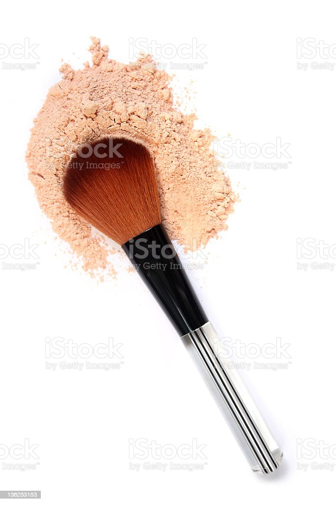 Clear handle blush brush in light pink powder, close-up royalty-free stock photo