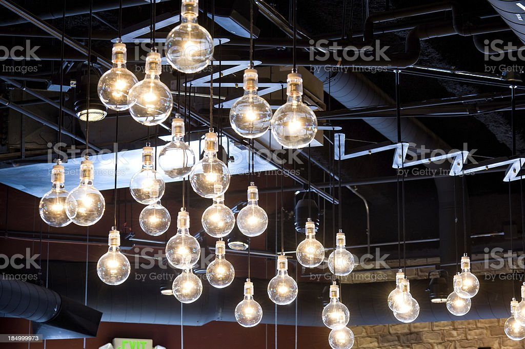 \'Clear Incandescent Light Bulbs Hanging Indoors. Modern, hip and...