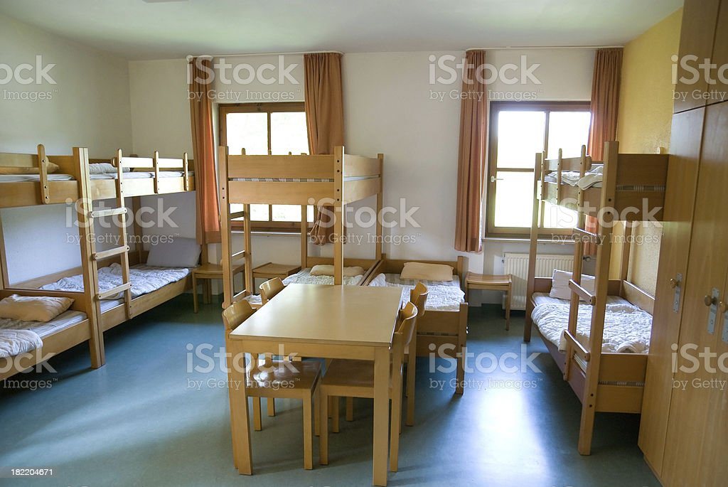clear inn room in youth hostel stock photo