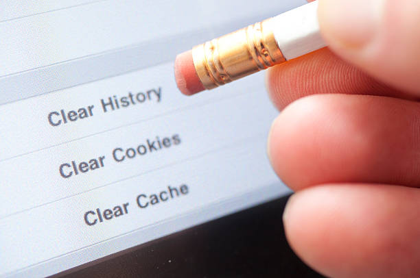 clear internet history - delete key stock photos and pictures