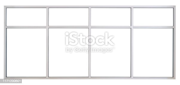 Large Clear Isolated Steel Office Windows  for Design, Modern Interior House Decoration