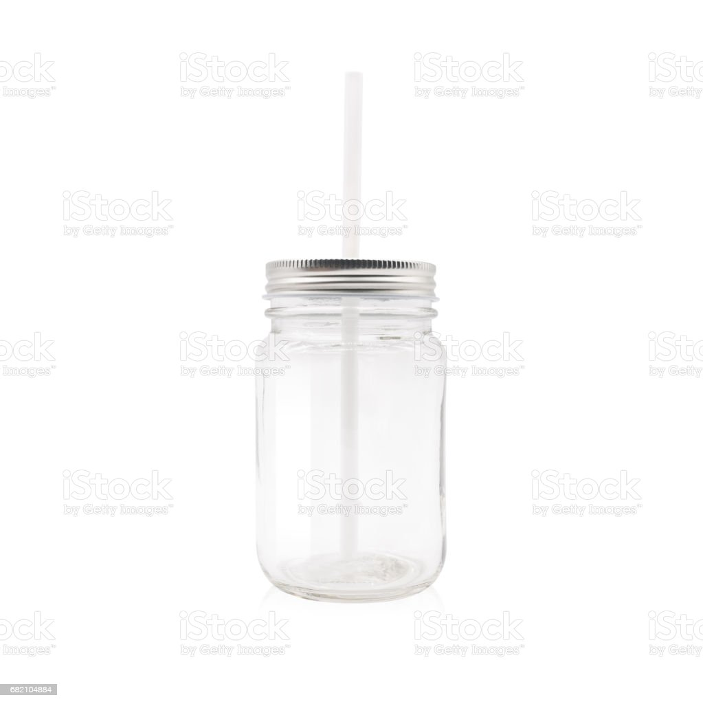 Clear jar and tube on isolated background with clipping path. - Photo