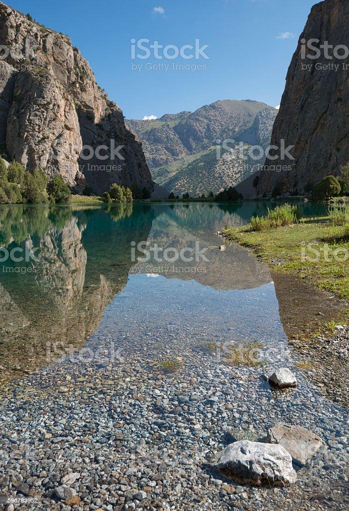 Clear mountain lake stock photo